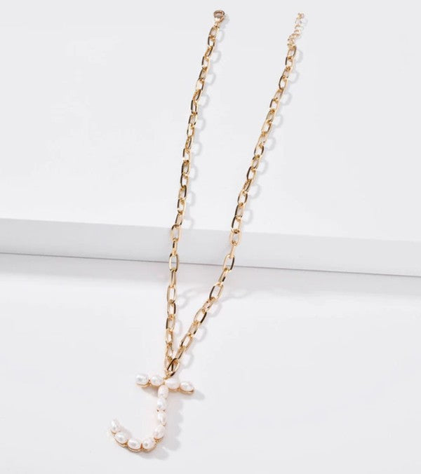 J Pearl Letter Necklaces