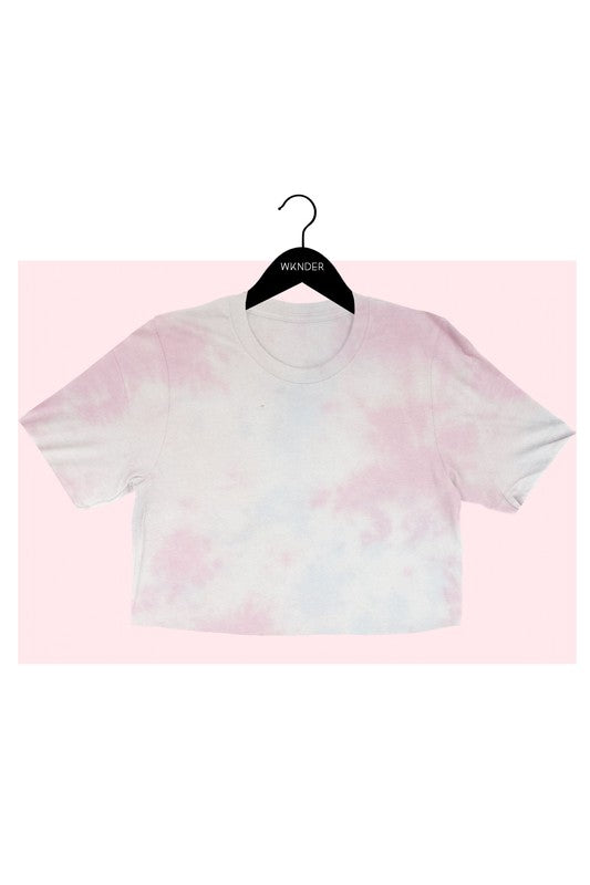 PINK TIE DYE CROP TEE   Tie dye cropped tee designed for comfort and style. Pair with your favorite joggers for a comfort look.