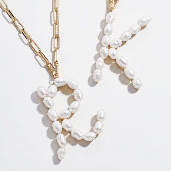 R AND K Pearl Letter Necklaces
