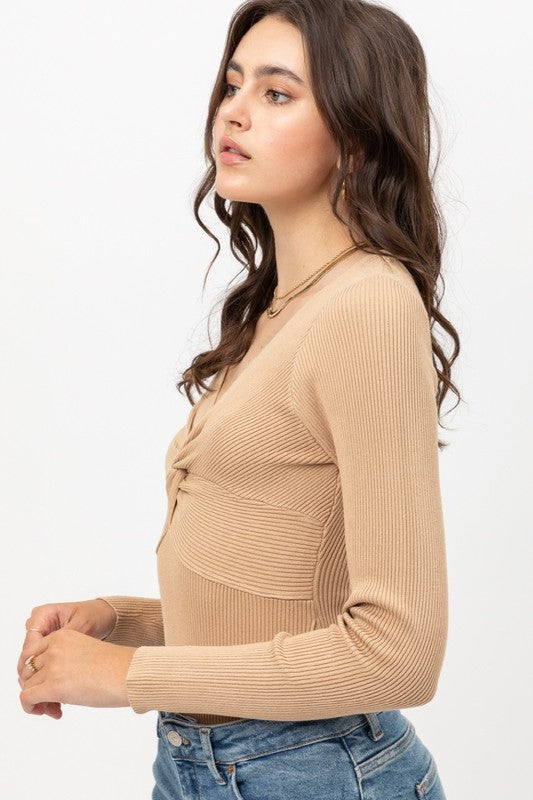 Nude Ribbed Long Sleeve Knot Bodysuit