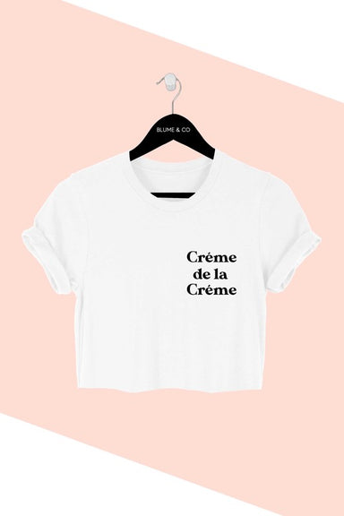 Creme de la creme crop top was designed for comfort and style. This tee is made from premium cotton and features a classic crop fit.   100% Cotton   Classic crop fit