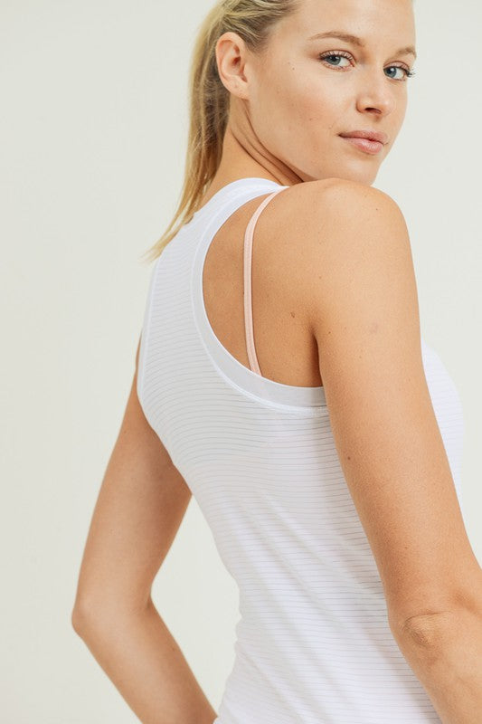 Extremely soft, lightweight, and semi-sheer mesh-striped fabric.  Perfect for casual wear or to layer over your sports bra when working out.