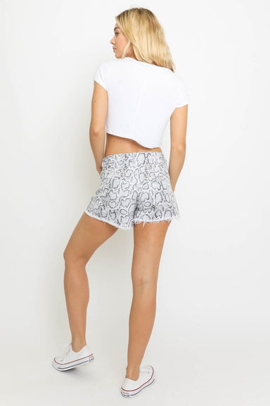 Grey Snake Distressed Shorts