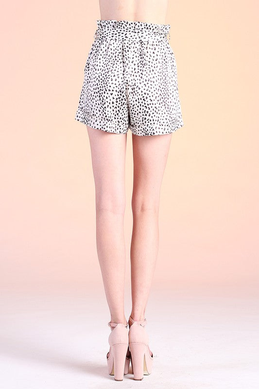 white and black Baby Cheetah Satin Paper Bag Shorts
