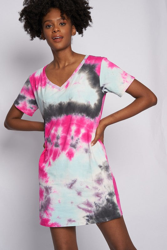 Grey with pink and white Tie dye deep v-neck short sleeve box jersey top or dress