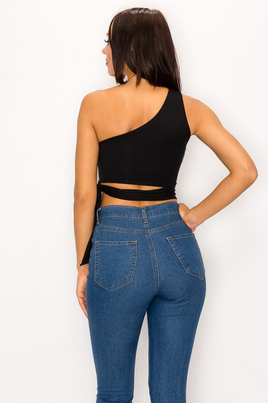 Black One Shoulder Cut Out Crop
