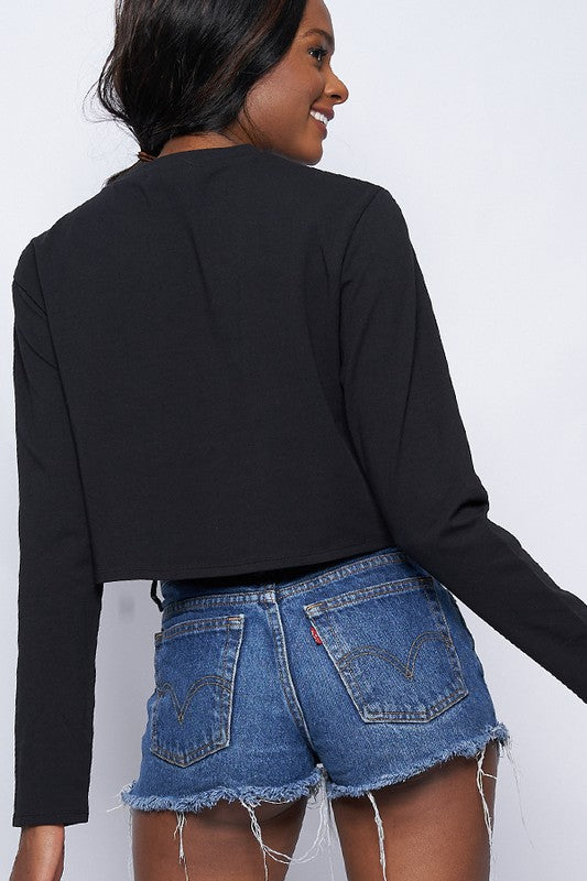 back of black Round neck long sleeve box crop t-shirts.