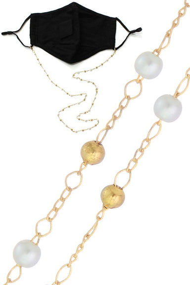 Pearl & Gold Bead Face Mask Chain