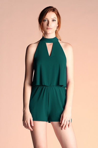 Hunter green Keyhole Double Layer Romper