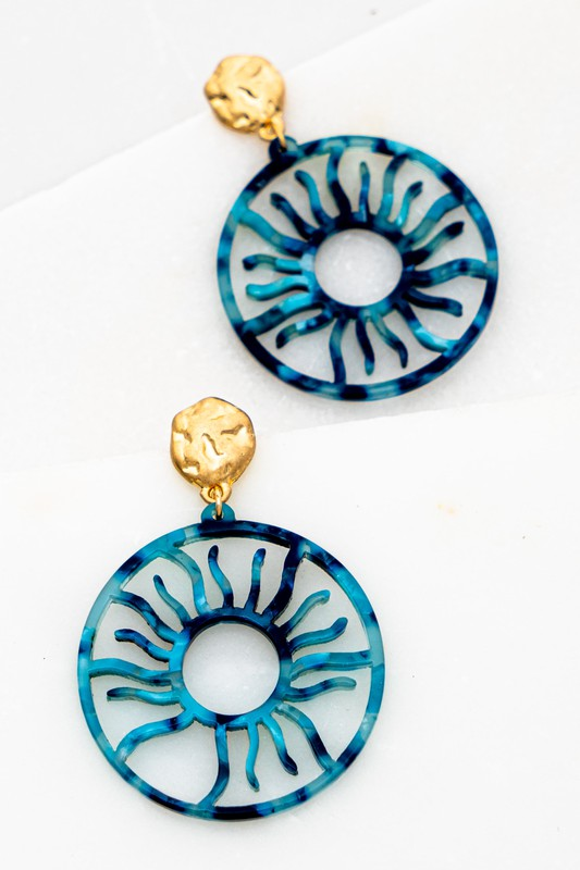 "Blue FILIGREE RESIN SUN PATTERN DROP EARRINGS SIZE: 1.5"" X 2.0"""
