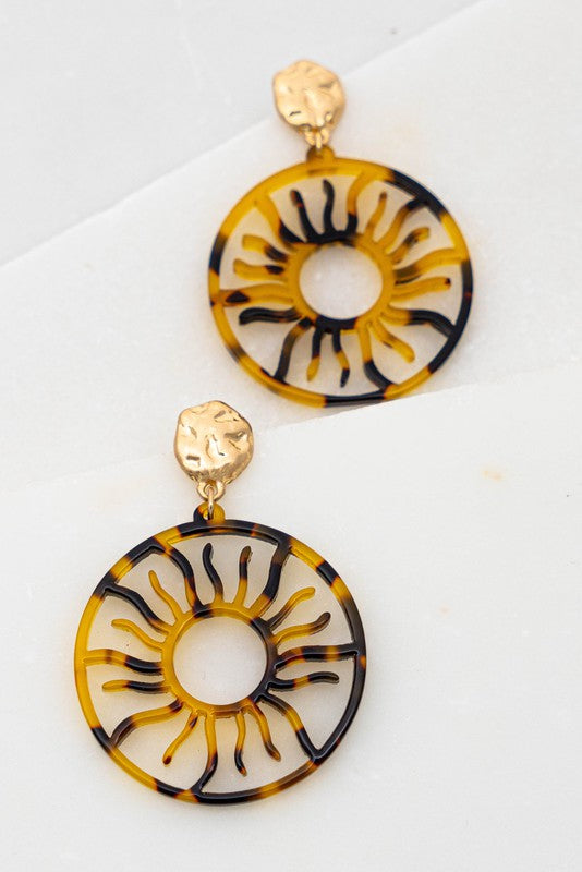 Tortoise Sun Circle Earrings