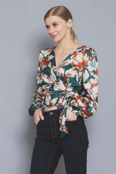 GREEN FLORAL WRAP DRESSY TOP