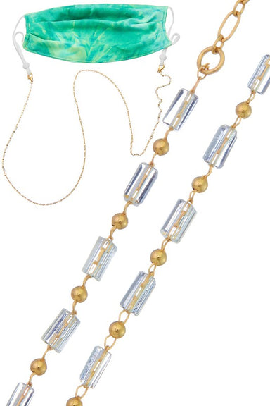 Gold & Clear Bead Face Mask Chain
