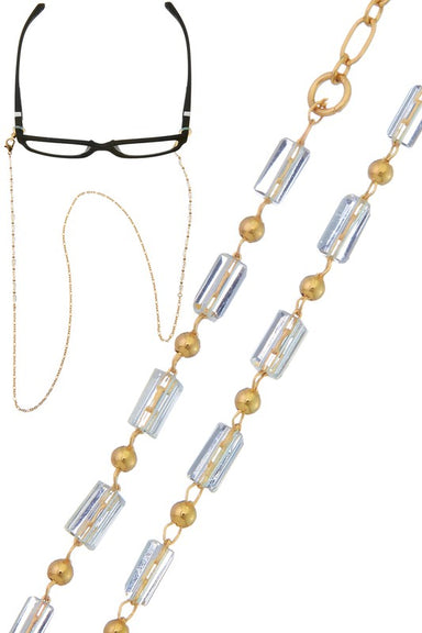 Gold & Clear Bead glasses or sunglasses Chain