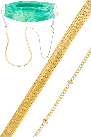 Gold Chain Bead Face Mask Chain