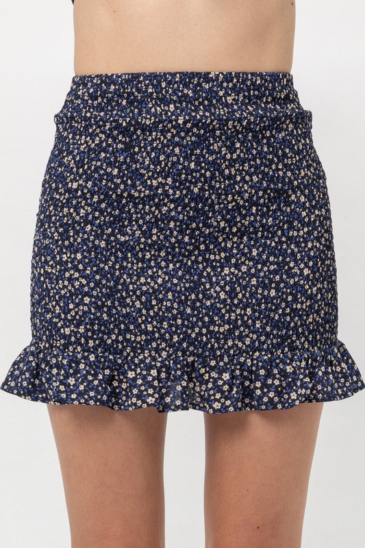 Navy Sunflower Skirt