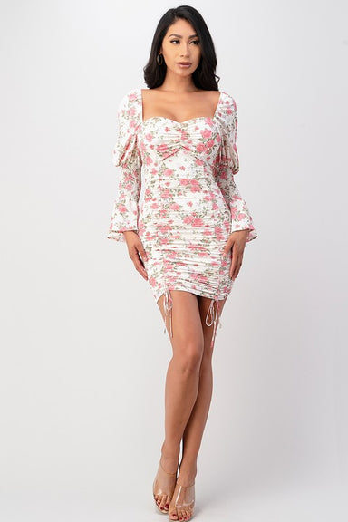 WHITE VERSION Black Long Sleeve Floral Dress