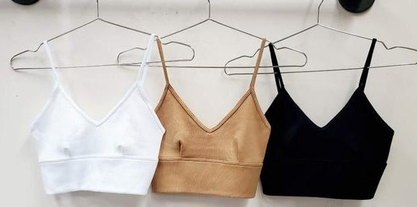 different colors of Ribbed V Neck Crop Top