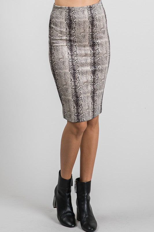 Khaki Snake Suede Pencil Skirt. Close front pictured