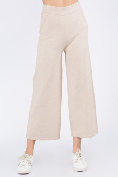 Taupe Knitted Elastic Waist Pullover Pants