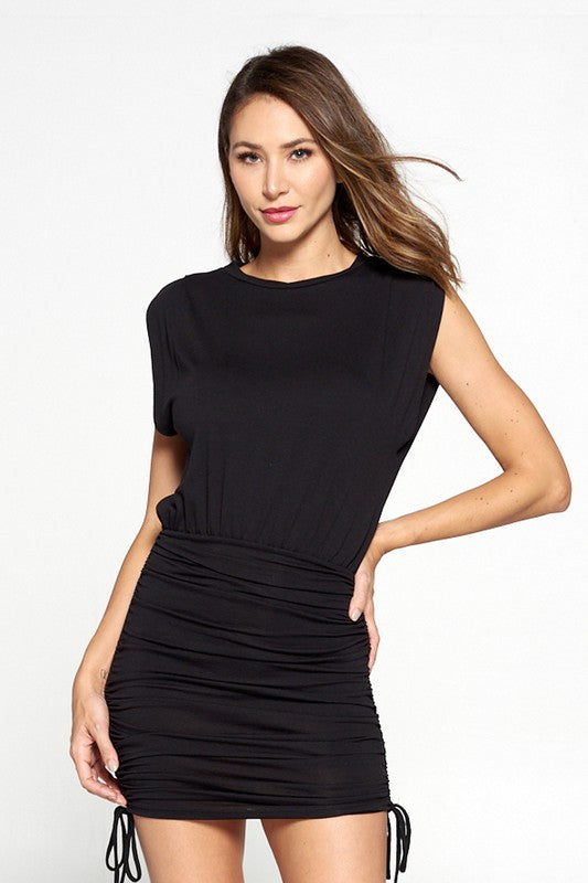 Black Sleeveless Ruched Lace-up Dress