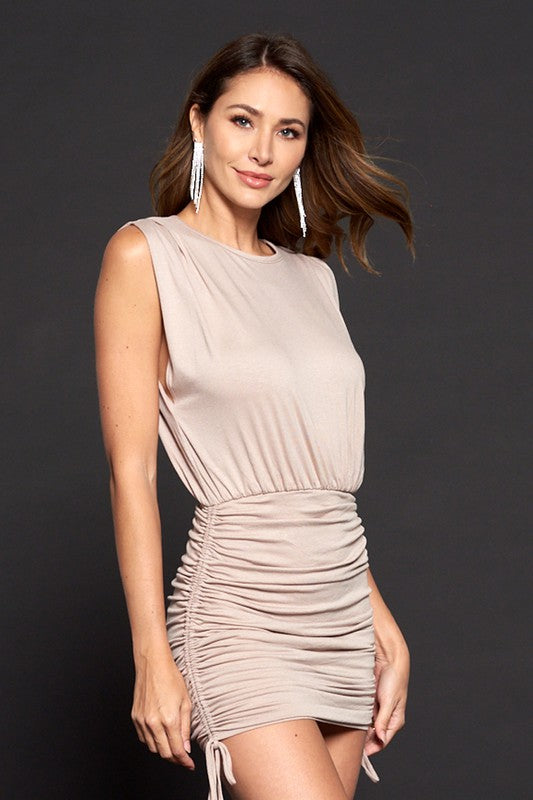 Beige Sleeveless Ruched Lace-up Dress