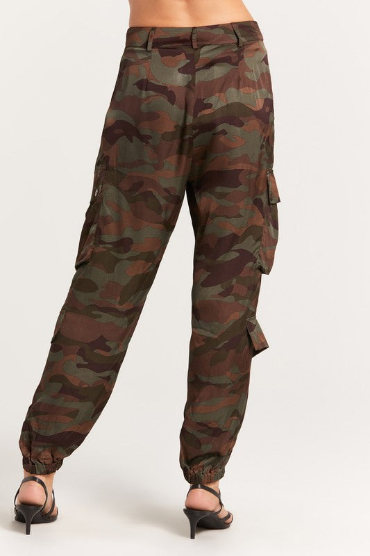 Our Satin Camo Joggers feature pockets and a relaxed fit. Woven.