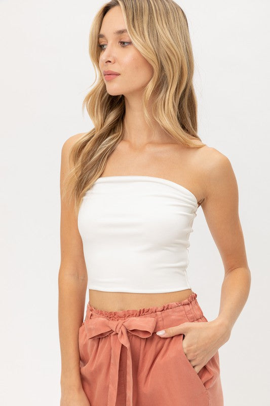 White Seamless Basic Tube Top