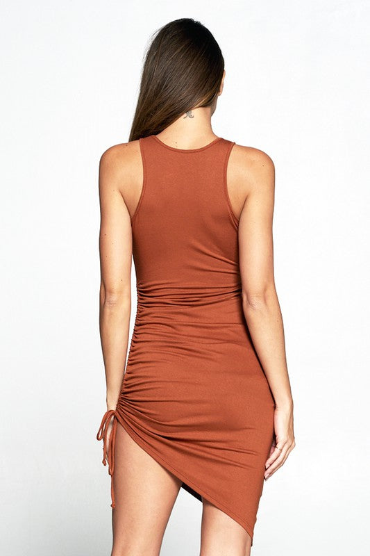 Rust High Neck Lace-up Dress