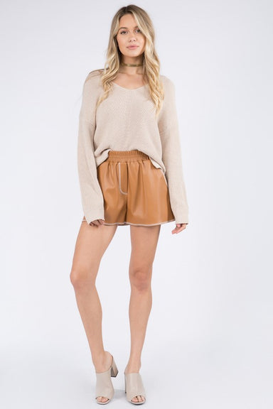 Camel Contrast Stitch Detail Leather Shorts
