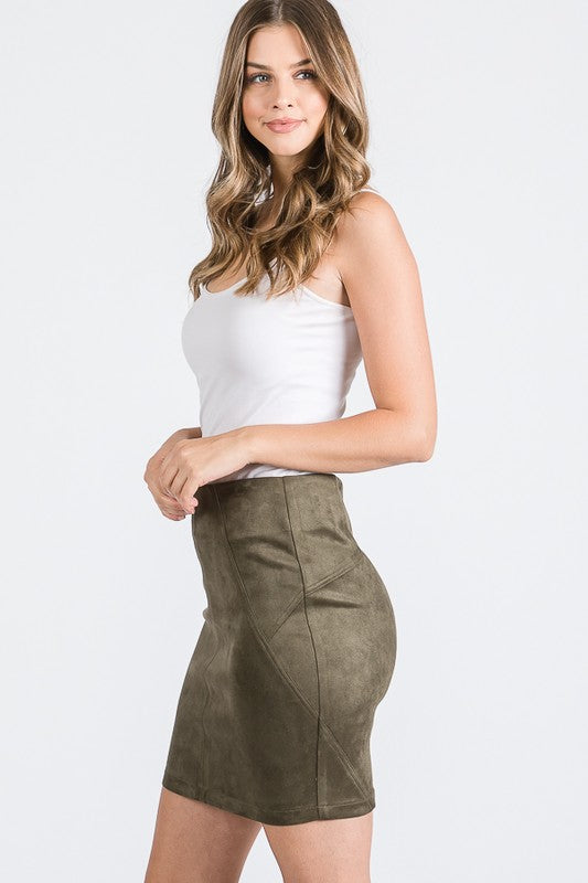 Olive Basic A-Line Faux Suede Mini Skirt