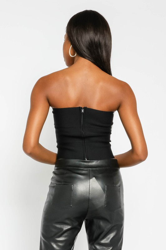 Black strapless Bandage Tube Cropped Top