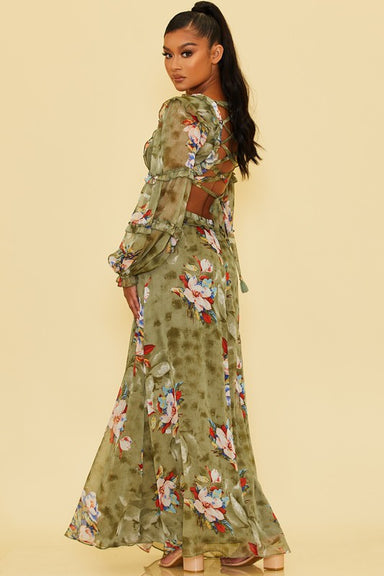 back of FADED FLORALS LACE UP MAXI DRESS