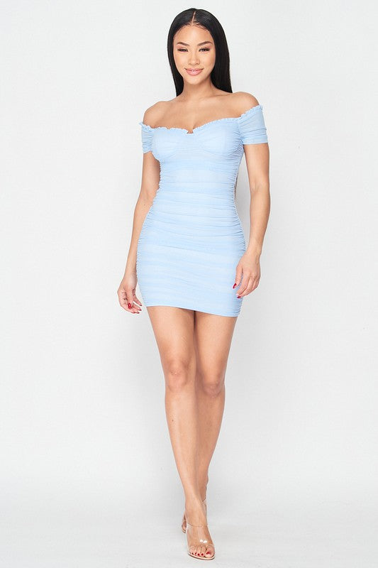 Baby Blue off the Shoulder Ruched Dress