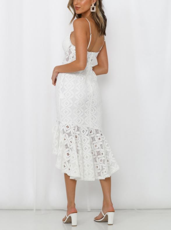 White lace midi dress with split. back