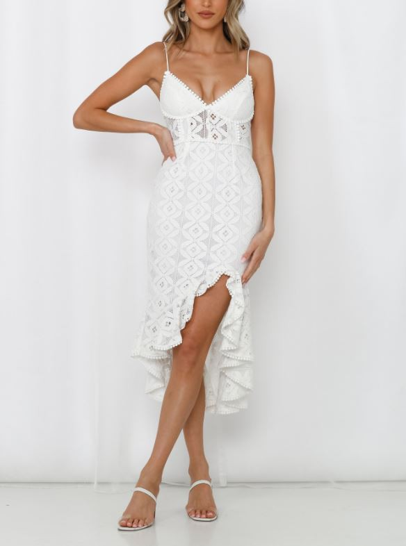 White lace midi dress with split
