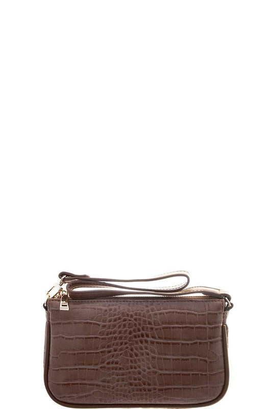 Brown Croc Handle Clutch