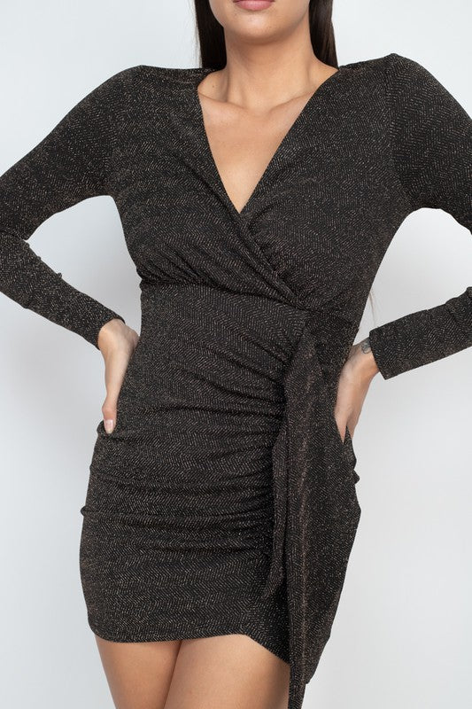 Black and Gold Glitter Knit Bodycon Dress