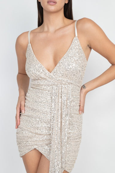 Champagne Side Shirring Sequin Dress