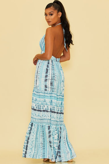 open back Blue Tie Dye Maxi Dress