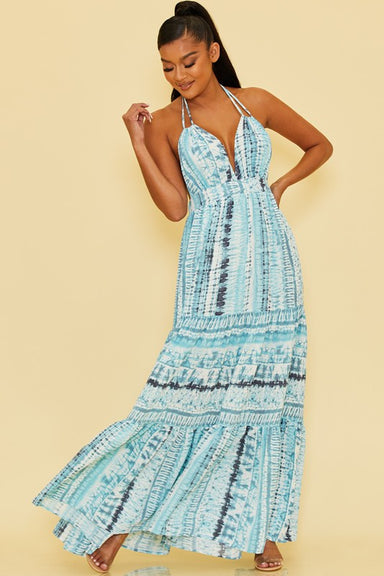 Halter Blue Tie Dye Maxi Dress