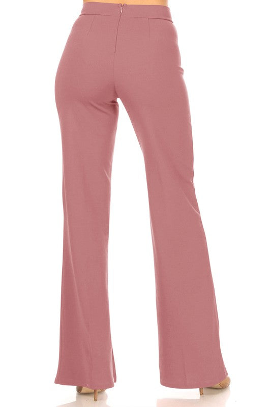 Mauve Pleated High Waisted Pants