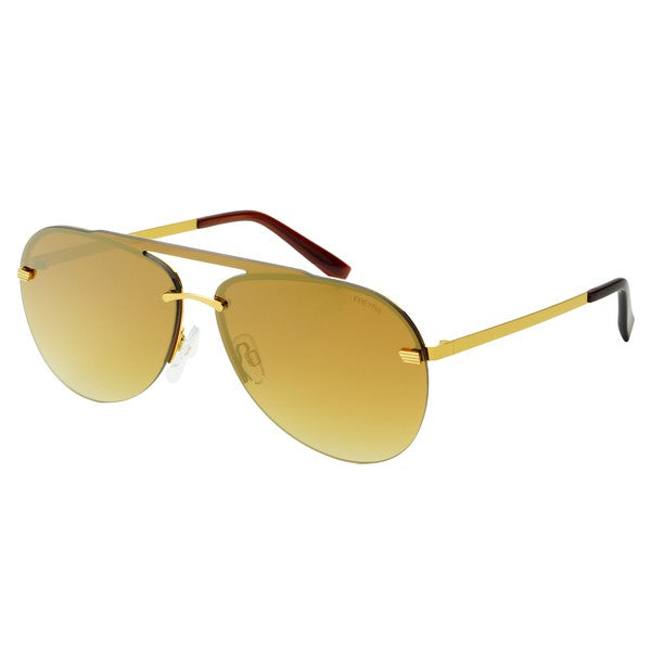 Gold Mirror Aviator with the top strip sunglasses by FREYRS EYEWEAR