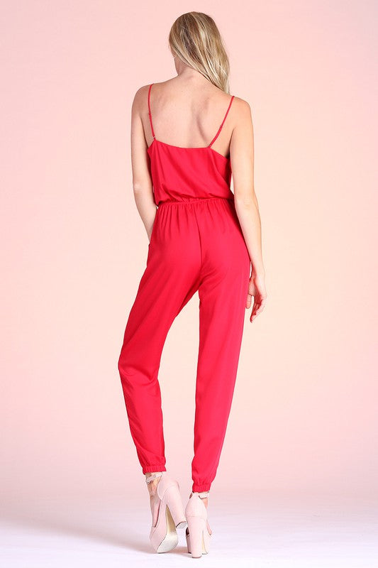 Red Satin Cowl Neck Jumpsuit