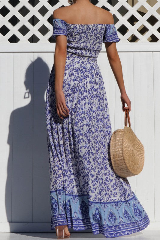 Blue Off the Shoulder Floral Maxi Dress