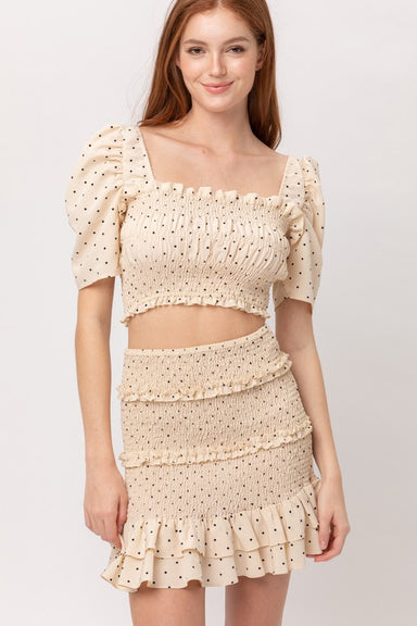 Cream & Pocka Dot Crop Top