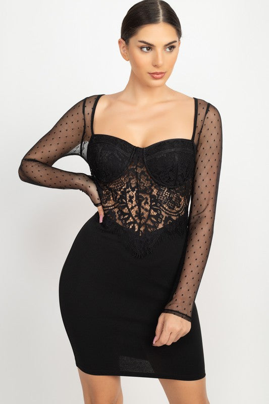 Black Lace Dot Sleeve Bodycon Mini Dress