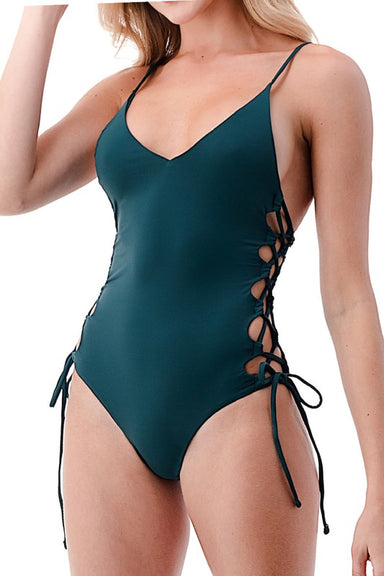 Emerald Side Cut Lace-up One piece swimsuit