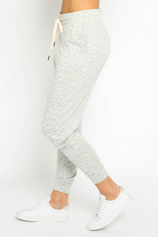 Oatmeal Grey Cheetah Jogger