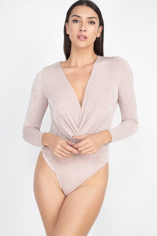 Champagne Long Sleeve Drape Bodysuit